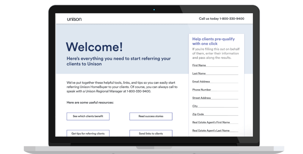 Unison welcome landing page